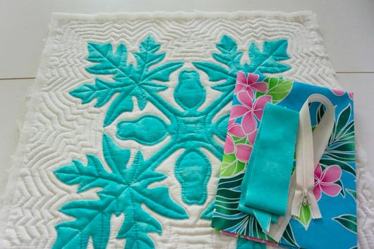 ハワイアンキルトキットのクッション&タペストリーの作り方01